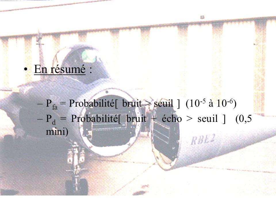En résumé : Pfa = Probabilité[ bruit > seuil ] (10-5 à 10-6)